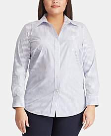 Lauren Ralph Lauren Plus Size Non-Iron Striped Shirt