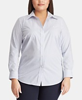 ea108fa7a Lauren Ralph Lauren Plus Size Non-Iron Striped Shirt