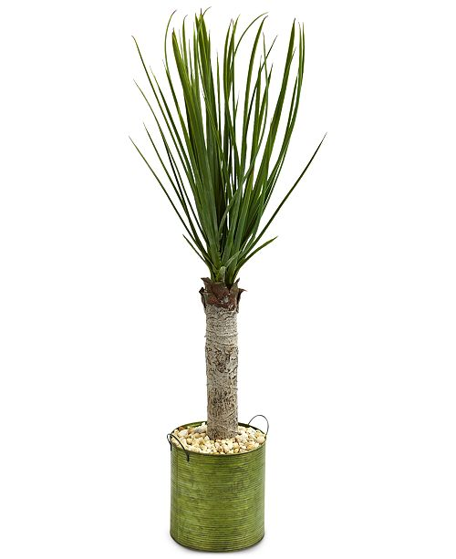 Nearly Natural 3' Yucca Artificial Tree in Green Tin Planter