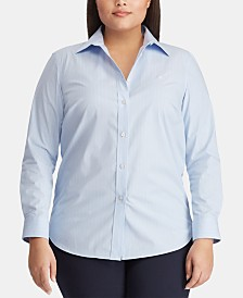 Lauren Ralph Lauren Plus Size Non-Iron Striped Shirt