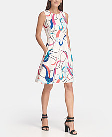 DKNY Sleeveless Graphic Print Fit and Flare Dress, Created for Macy's