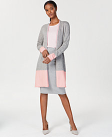 Charter Club Cashmere Colorblocked Cardigan