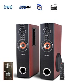 Befree Sound 2.1 Channel Powered Bluetooth Dual Wood Tower Speakers