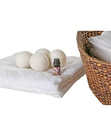 4 Pack Wool Dryer Balls and Lavender Essential Oil Kit