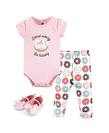 Unisex Baby Bodysuit, Bottom and Shoes, Donut Worry 3-Piece Set, 12-18 Months