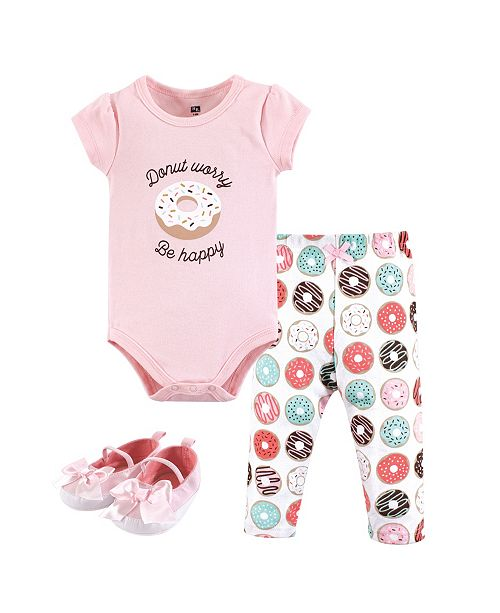 Hudson Baby Unisex Baby Bodysuit, Bottom and Shoes, Donut Worry 3-Piece Set, 12-18 Months