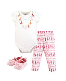 Little Treasure Unisex Baby Bodysuit, Pant and Shoes, Tassel Necklace, 3-Piece Set, 0-3 Months
