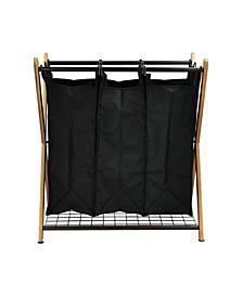 X-Frame Bamboo 3-Bag Laundry Sorter