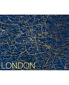 "City of London Map in Midnight Blue 24"" x 36"" Metal Wall Art Print"