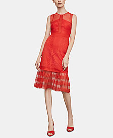 BCBGMAXAZRIA Mixed-Lace Illusion Dress