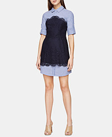 BCBGMAXAZRIA Layered-Look Lace Shirtdress