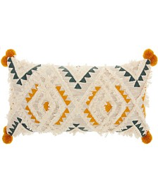 """Studio NYC Collection """"Diamond Embroidery"""" Multicolor Throw Pillow by Mina Victory"""