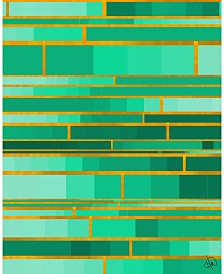 """Color Palette Yellow Outline - Aqua Green Abstract 20"""" x 24"""" Acrylic Wall Art Print"""