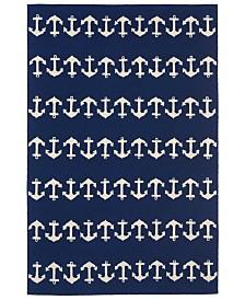 "Liora Manne' Capri 1664 Anchor Blue 3'6"" x 5'6"" Indoor/Outdoor Area Rug"