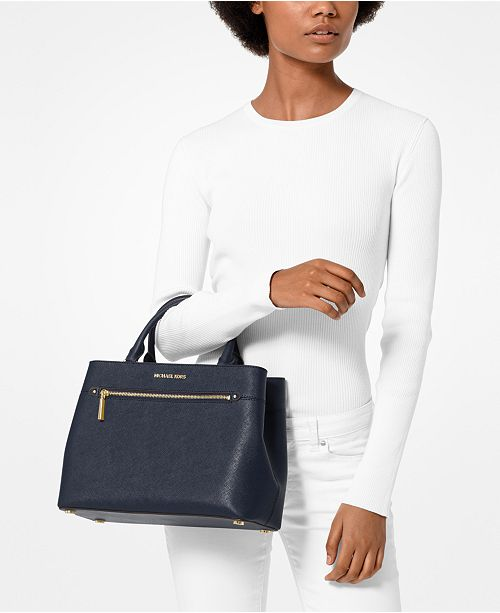 747a52582e2b Michael Kors Hailee Crossgrain Leather Satchel   Reviews - Handbags ...