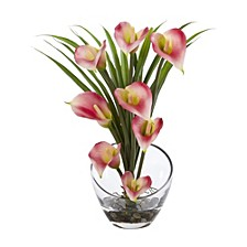 """15.5"""" Calla Lily and Grass Artificial Arrangement in Vase"""