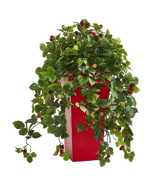 """Nearly Natural 30"""" Rasberry Artificial Plant in Red Tower Planter"""
