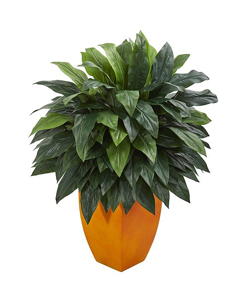 Nearly Natural Cordyline Artificial Plant in Orange Planter