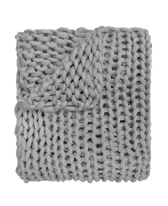 American Heritage Textiles Chunky Knit Throw, Grey