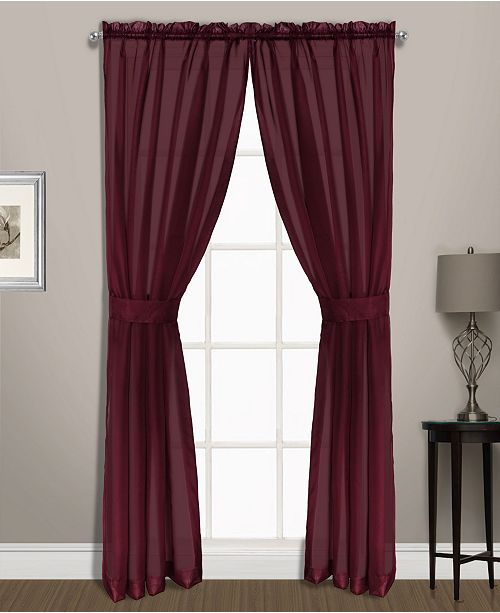 """United Curtain Co Inc Summit 74"""" X 72"""" Set With Two Panels And Two Tiebacks"""