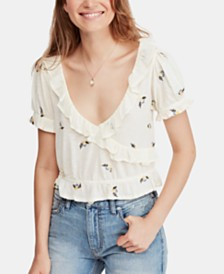 Free People Full Bloom Embroidered Ruffled Top