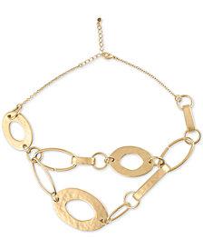 "RACHEL Rachel Roy Gold-Tone Large Ring Statement Necklace, 16"" + 2"" extender"