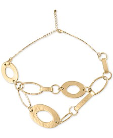 "RACHEL Rachel Roy Gold-Tone Large Ring Statement Necklace, 16"" + 2"" extender"