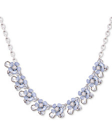 "GUESS Silver-Tone Crystal & Resin Flower Collar Necklace, 16"" + 2"" extender"