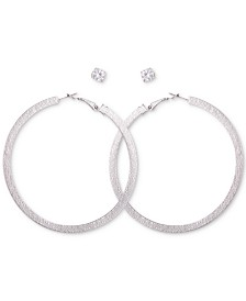 a67966c3e GUESS Silver-Tone Textured Hoop & Crystal Stud Earrings Set
