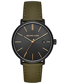 Michael Kors Men's Blake Olive Leather Strap Watch 42mm