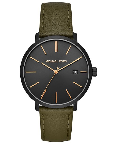 220301edbc3f Michael Kors Men s Blake Olive Leather Strap Watch 42mm   Reviews ...