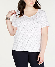Tommy Hilfiger Plus Size Cotton Polka Dot T-Shirt, Created for Macy's