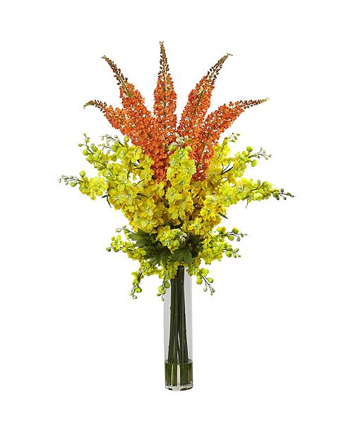 Nearly Natural Delphinium and Foxtail Silk Floral Arrangement  ""