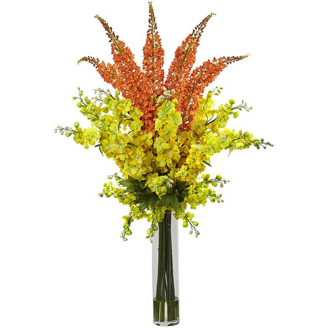 """Nearly Natural Delphinium and Foxtail Silk Floral Arrangement  """""""