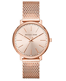 Michael Kors Women's Pyper Rose Gold-Tone Stainless Steel Mesh Bracelet Watch 38mm