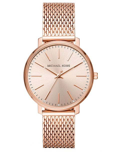 ... Michael Kors Women s Pyper Rose Gold-Tone Stainless Steel Mesh Bracelet  Watch ... d4c6efc8fbb
