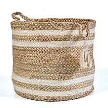 Natural Jute - Double Stripped Decorative Storage Basket