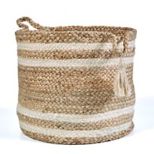LR Home Natural Jute - Double Stripped Decorative Storage Basket