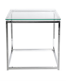 Sandor Rectangular Side Table with Tempered Glass Top and Chrome Frame