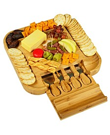 Malvern Bamboo Cheese Board Set with Cracker Rim and 4 Tools