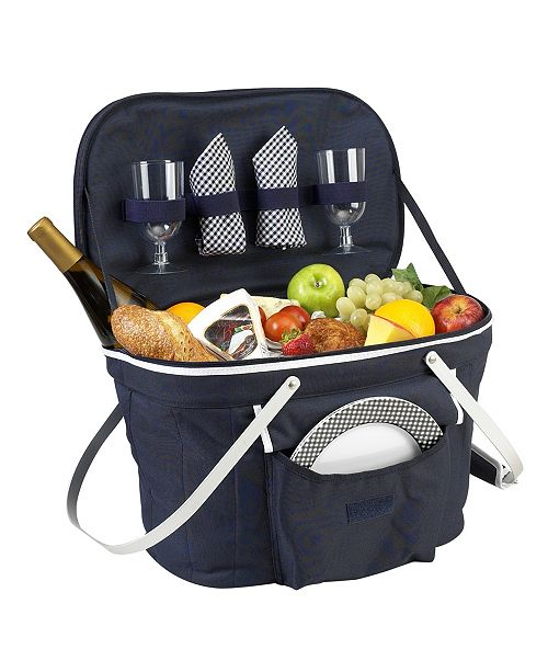 Picnic At Ascot Collapsible Picnic Basket Cooler - Equipped with Service For 2