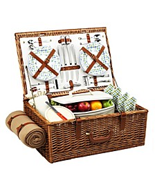 Dorset English-Style Willow Picnic Basket for 4 with Blanket