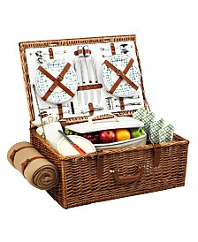 Picnic at Ascot Dorset English-Style Willow Picnic Basket for 4 with Blanket
