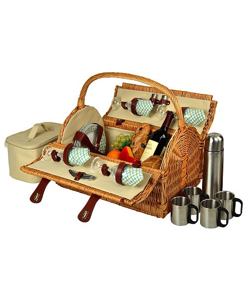 Picnic At Ascot Yorkshire Willow Picnic, Coffee Basket with Service for 4