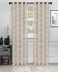 """Semi-Sheer Quatrefoil Printed Curtain Panels, Set of 2, 52"""" x 96"""""""