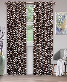"Soft Quality Woven, Trellis Collection Blackout Thermal Grommet Curtain Panel Pair, Set of 2, 52"" x 96"""
