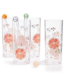 Martha Stewart Collection Citrus Tom Collins Glasses, Set of 4, Created for Macy's