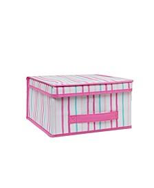 Kids Medium Collapsible Storage Box in Painterly Pink Stripe