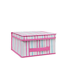 Laura Ashley Kids Medium Collapsible Storage Box in Painterly Pink Stripe