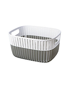 Simplify 2-Tone Decorative Large Storage Basket in Gray